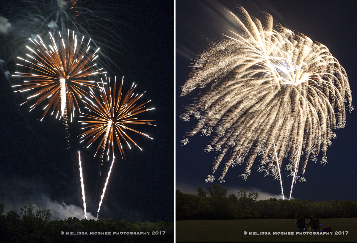 For these images, the ISO was at 400 and the aperture was set at f/7.1. The left image was .60 seconds, the right image was six seconds. (Photo courtesy Melissa McGhee Photography)
