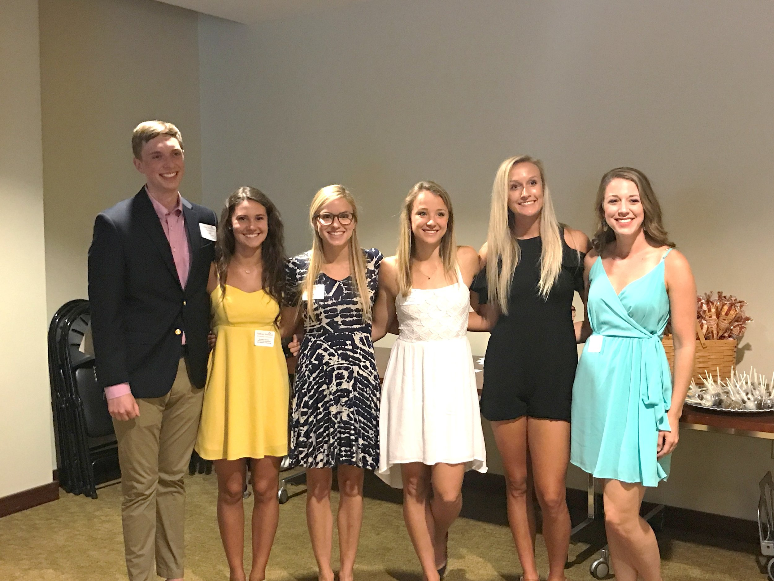 Scholarship recipients on hand for the celebration were (from left) Matt Kamp, Brittany Kendall, Caitlin Lamb, Lisa Morris, Kailin Cordes and Jessica Solis
