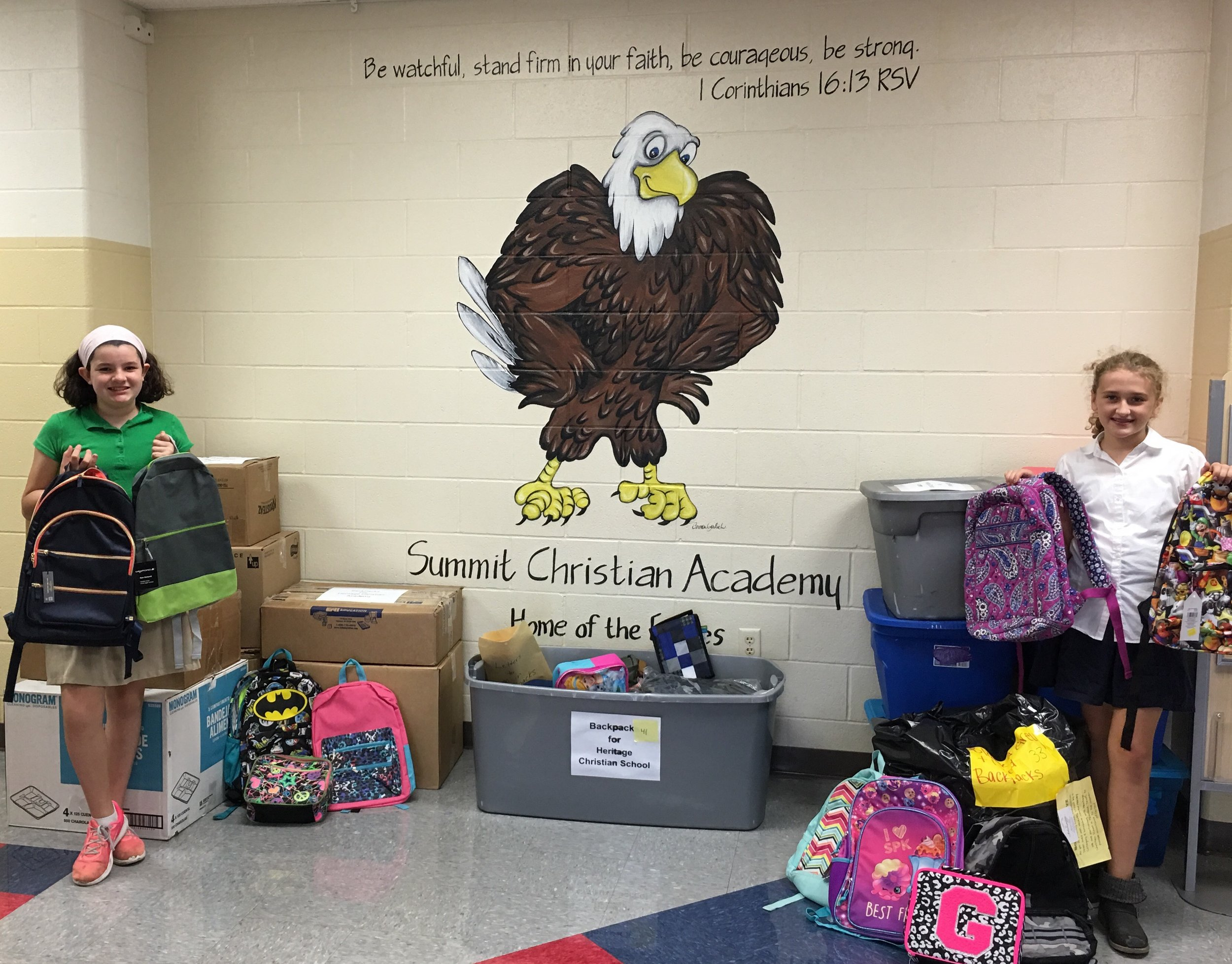 With core values of Igniting Leadership and Cultivating Community, SCA desires to empower students as they seek to impact lives and serve beyond the walls of SCA. SCA 5th Grade students Renee Chapman and Elisabeth White recently organized a drive which collected nearly 300 backpacks to send to devastated families in Houston.