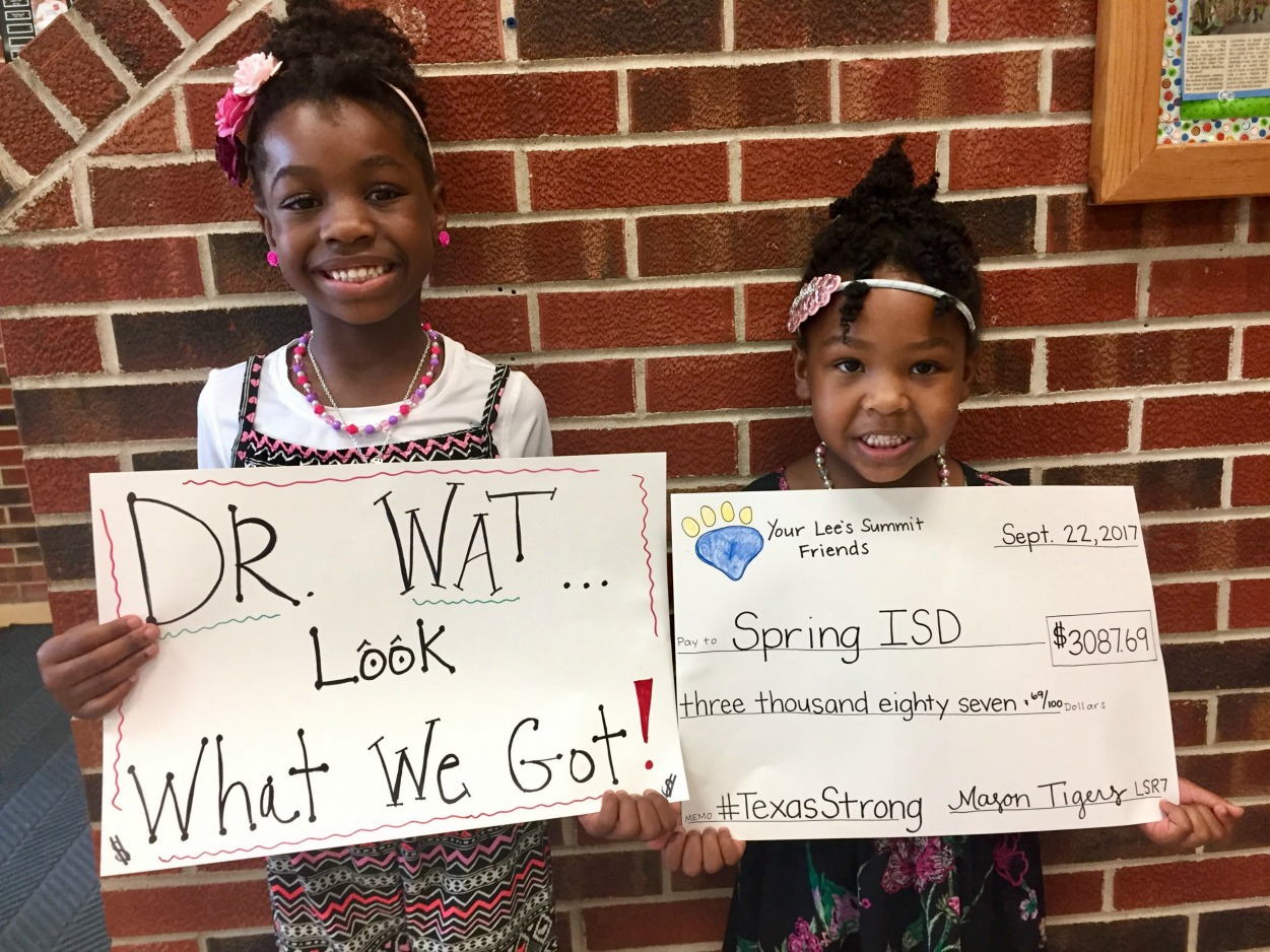 Pictured (from left) are Mason students Skylar Watson and Makayla Watson, nieces of Dr. Rodney E. Watson, superintendent of Spring Independent School District, located just north of downtown Houston — a Texas connection for the school. Dr. Watson is also a former Lee's Summit R-7 elementary school principal. The group photo includes members of Student Council.