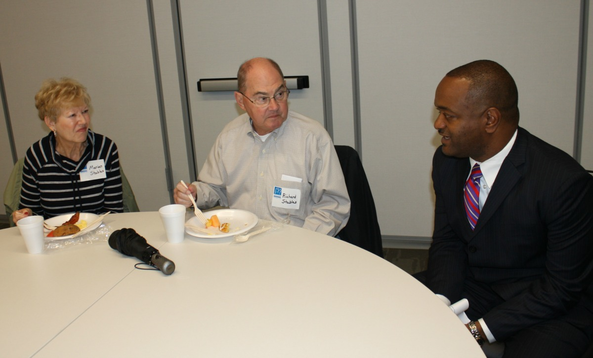 Dr. Dennis Carpenter talks to guests at the Missouri Innovation Campus.