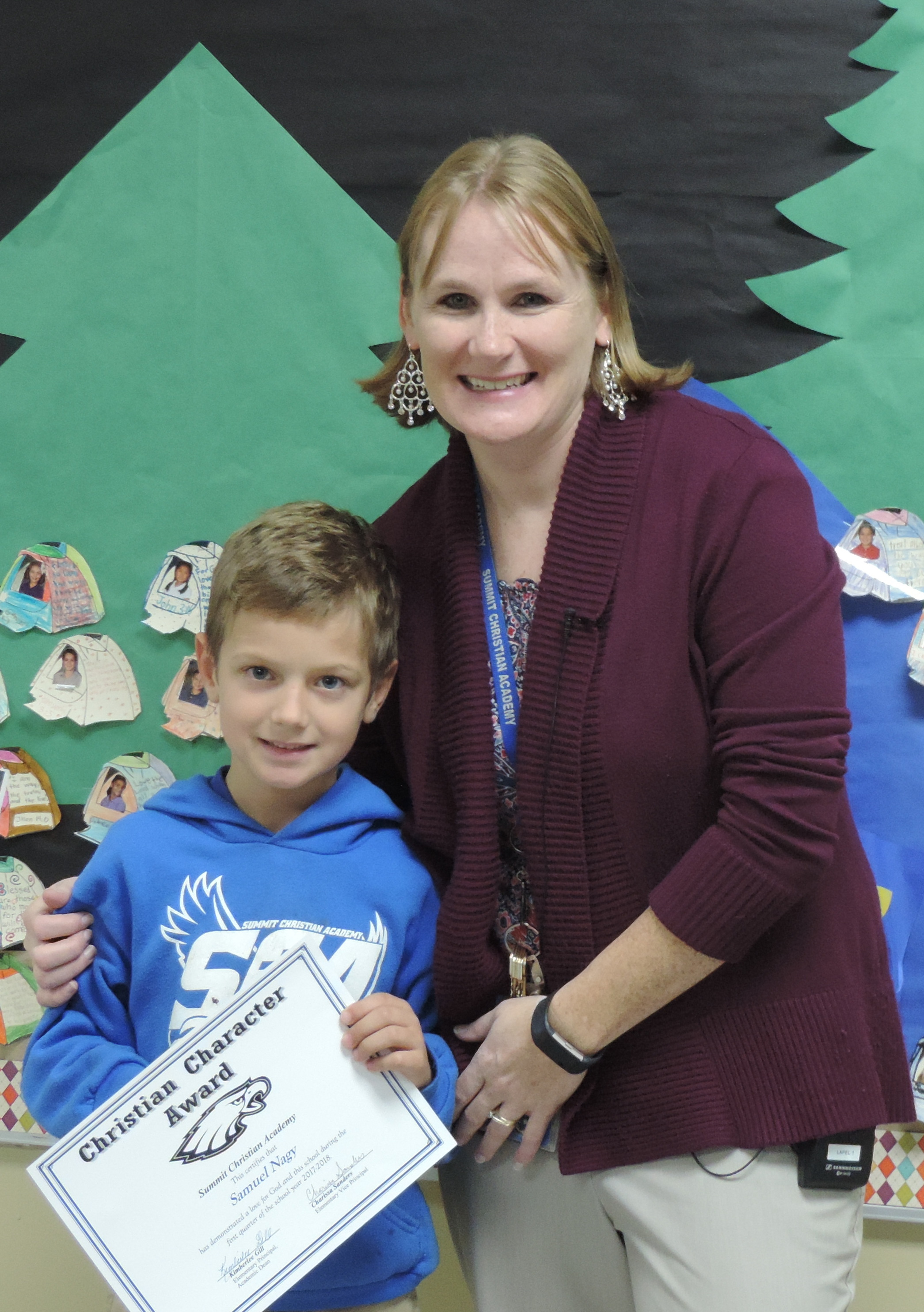 SCA second grade student Samuel Nagy, pictured with SCA Elementary Vice-Principal Charissa Sanders, received an elementary Christian Character Award for first quarter.