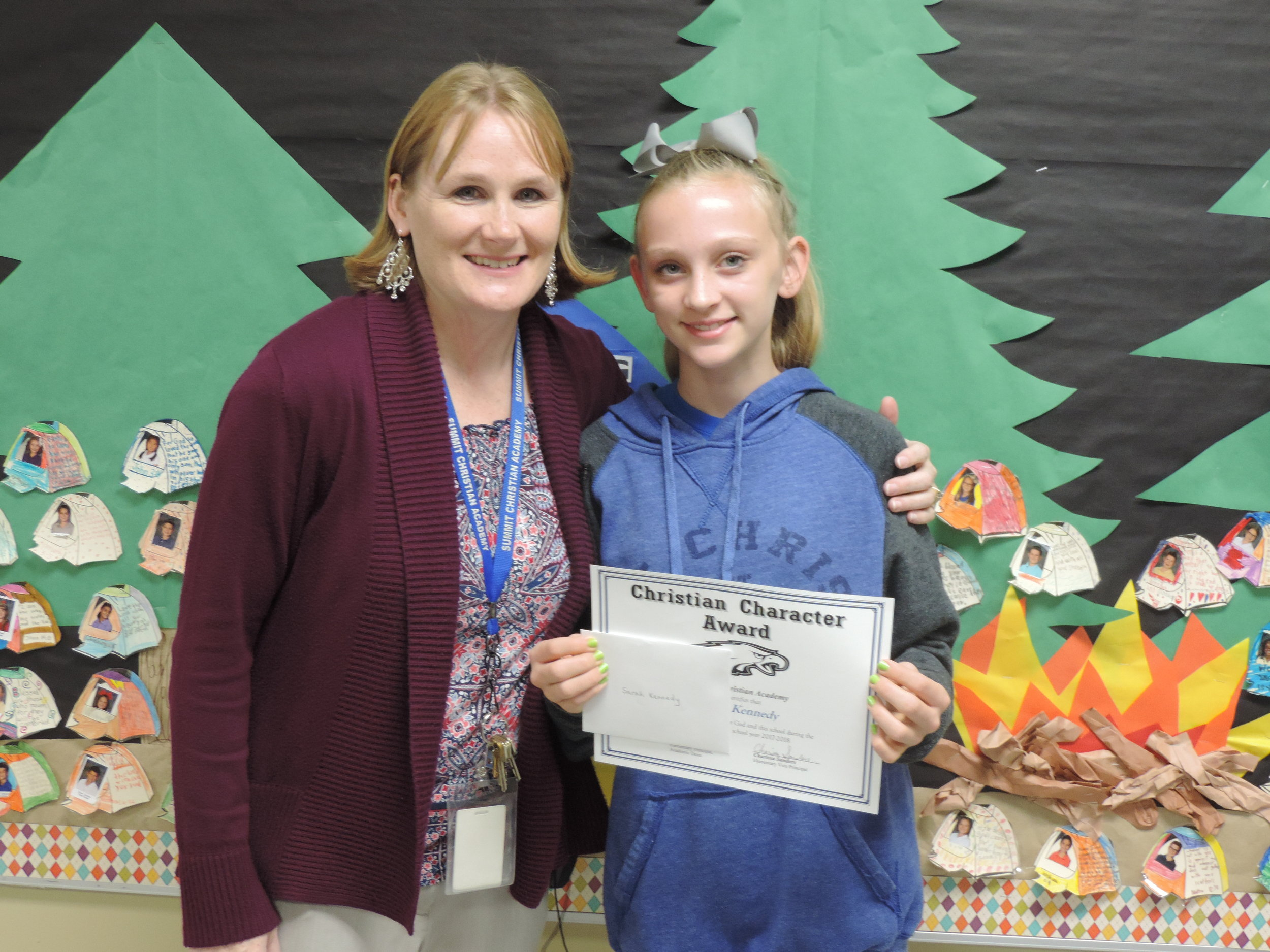 SCA sixth grade student Sarah Kennedy, pictured with SCA Elementary Vice-Principal Charissa Sanders, received an elementary Christian Character Award for first quarter.