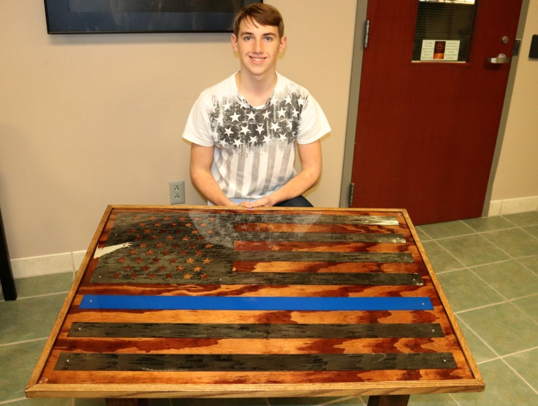 Andrew Bradshaw with his industrial technology project.