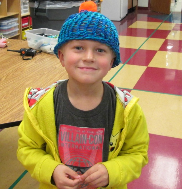 Max George, a first-grader at Hawthorn Hill Elementary, knitted his hat during BASS.