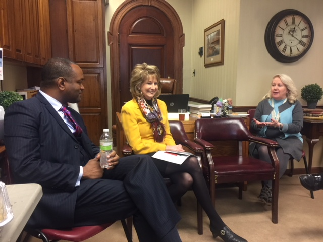 Rep. Kathryn Swan (center) is pictured with Dr. Dennis Carpenter, R-7 superintendent, and Jackie Clark, R-7 Board of Education member.