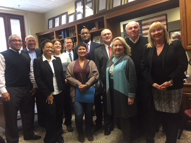 The group meets with Sen. Gary Romine in his office. Pictured are (front row, from left) Stephen Hill, Cita Trice, Mia Fulson, Jackie Clark, Phyllis Balagna, (back row, from left) Mike Johnson, Elaine Bluml, Mark Van Blaricum, Dr. Dennis Carpenter, Sen. Romine and Dennis Smith.