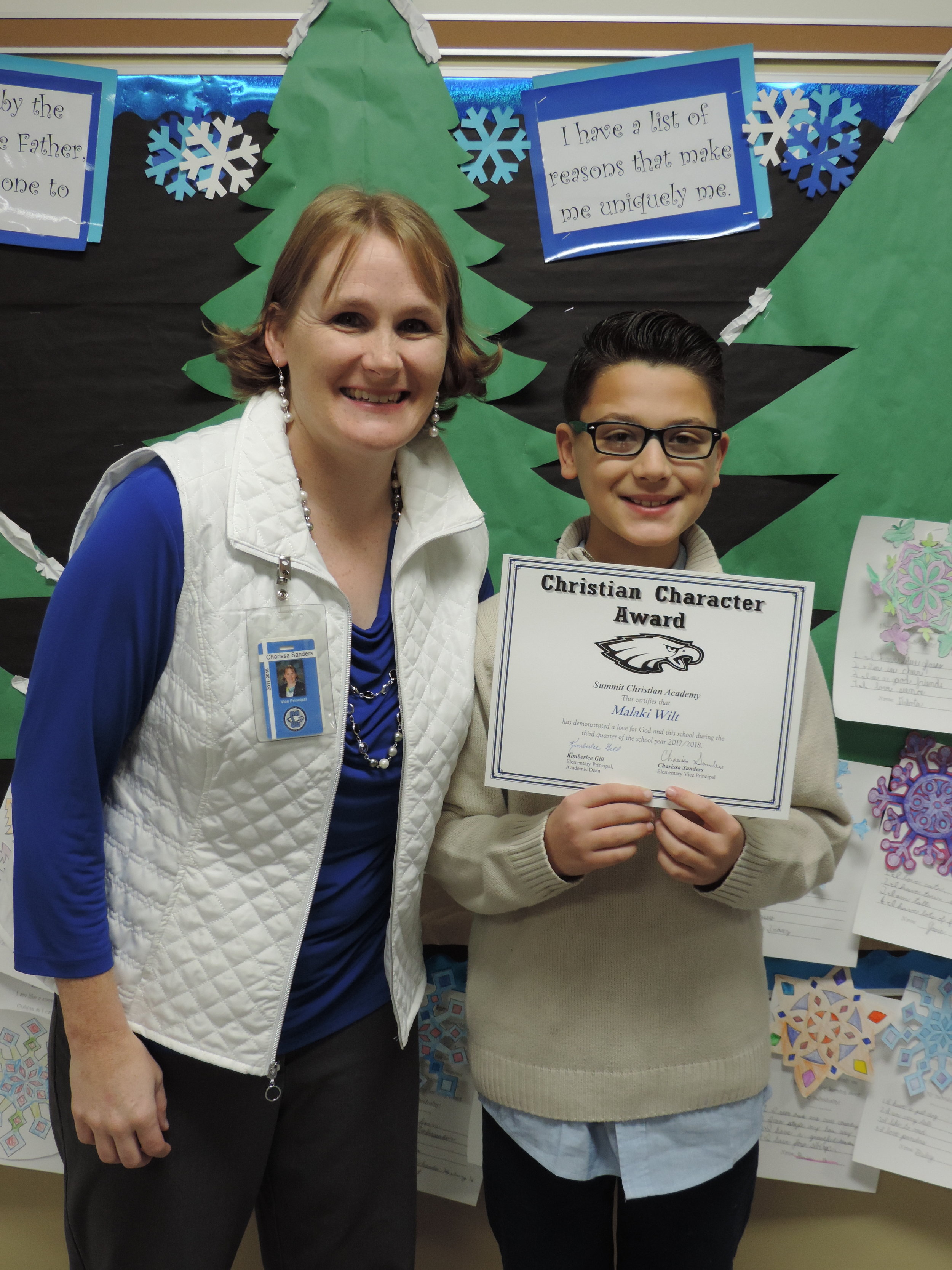 SCA fourth grade student Malaki Wilt, pictured with SCA Elementary Vice-Principal Charissa Sanders, received an elementary Christian Character Award for second quarter.