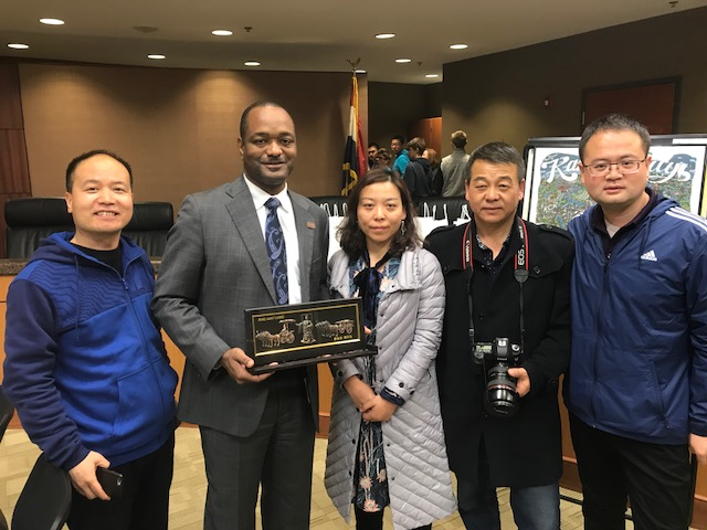 Chinese guests are pictured with Dr. Carpenter at the Stansberry Leadership Center.