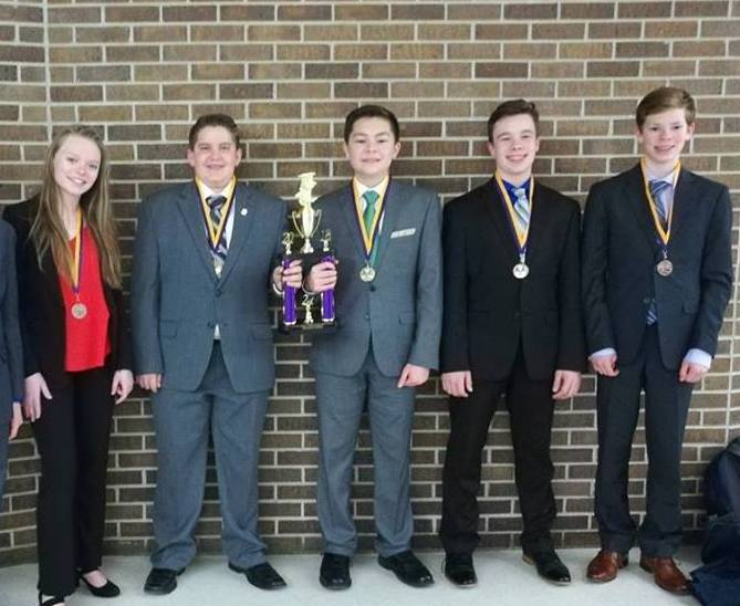 SCA Junior High Debate team members, including (left to right) Kaitlyn Gregg, Spencer Dickey, Zach Chinnery, Zac Beasley, and Will Osborne, have seen a large amount of success in local Middle School Tournaments this debate season.