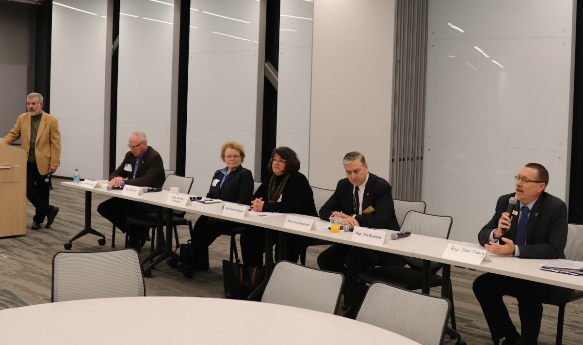 Pictured at the legislative forum are (from left) Kent Kirby (moderator), Sen. Mike Cierpiot, Rep. Donna Pfautsch, Rep. Rebecca Roeber, Rep. Rory Rowland and Rep. Dan Stacy.