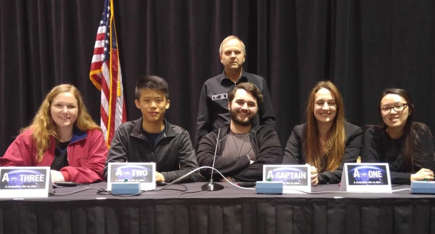 The third-place state team including (from left) Molly Wooster, Tim Nguyen, Joshua Foster, Micky O'Dell and Kimlan Phan is pictured with John Gray, coach.