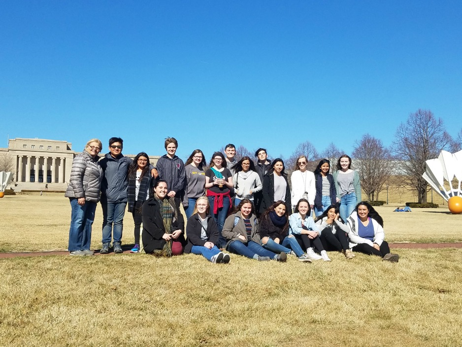 The visiting students on the lawn of the Nelson-Atkins Museum of Art.