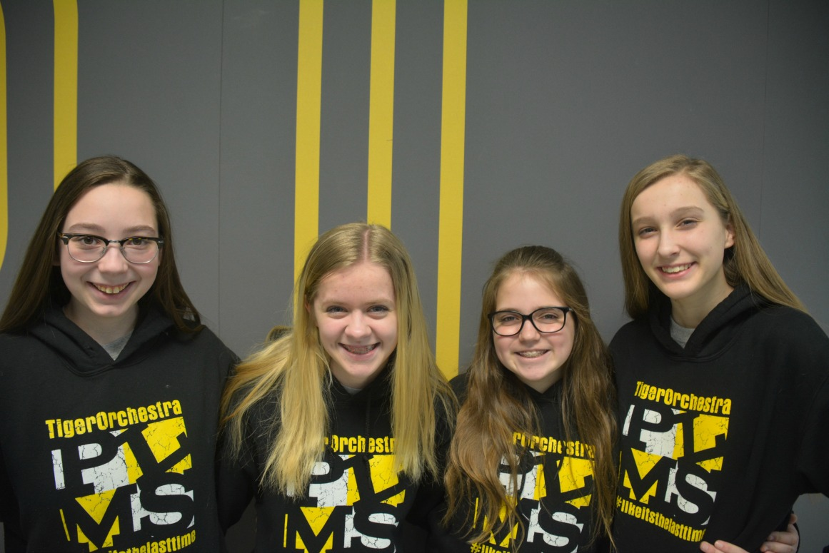 PLMS students selected for the Carnegie Hall performance at (from left) Angel Brock, Kailee Loffer, Isabel Julo and Aaliyah Roland.