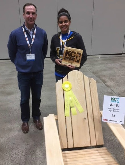 AJ Schur won the Sportsmanship Award for this adirondack chair. Also pictured is KC MADE Chair Drake Vidrine.