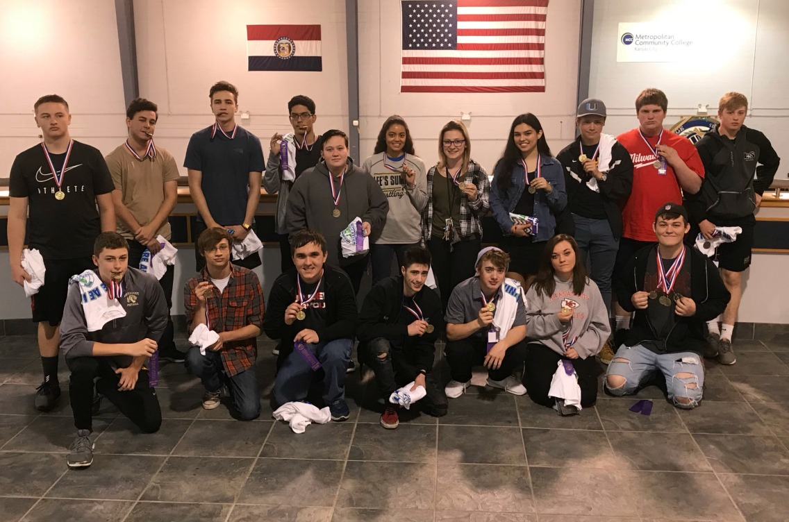 LSHS students earning grand awards at the district competition are (back row, from left) Tristan Wells, Jake Chojnacki, Joe Licata, Kyle McWilliams, River Wyrick, AJ Schur, Gabby Byers, Makayla Vasquez, Max Havens, Caleb Keith, Jacob Mrachek, (front row from left) Trent Fell, Justin Halverson, Charlie Licata, Kyle Myers, Mike Gannon, Jen Wills and Anthony Mixon. Not Pictured are Audrey Fleshcute, Riley Nofziger, Blair Campbell, Josh Moore and Zack Mckitterick.