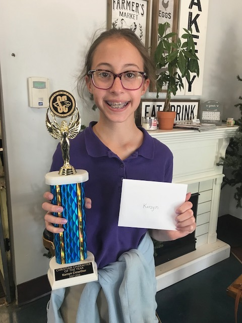 - SCA Fifth grade student Karsyn Crowtherwas recently named as SCA's Elementary Christian Character Student of the Year.