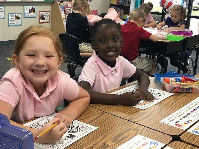 Kindergarten students Ady Morrow and Hadassah Chumba are among the 810 PreSchool - 12th grade students at SCA for the 2018-19 school year.