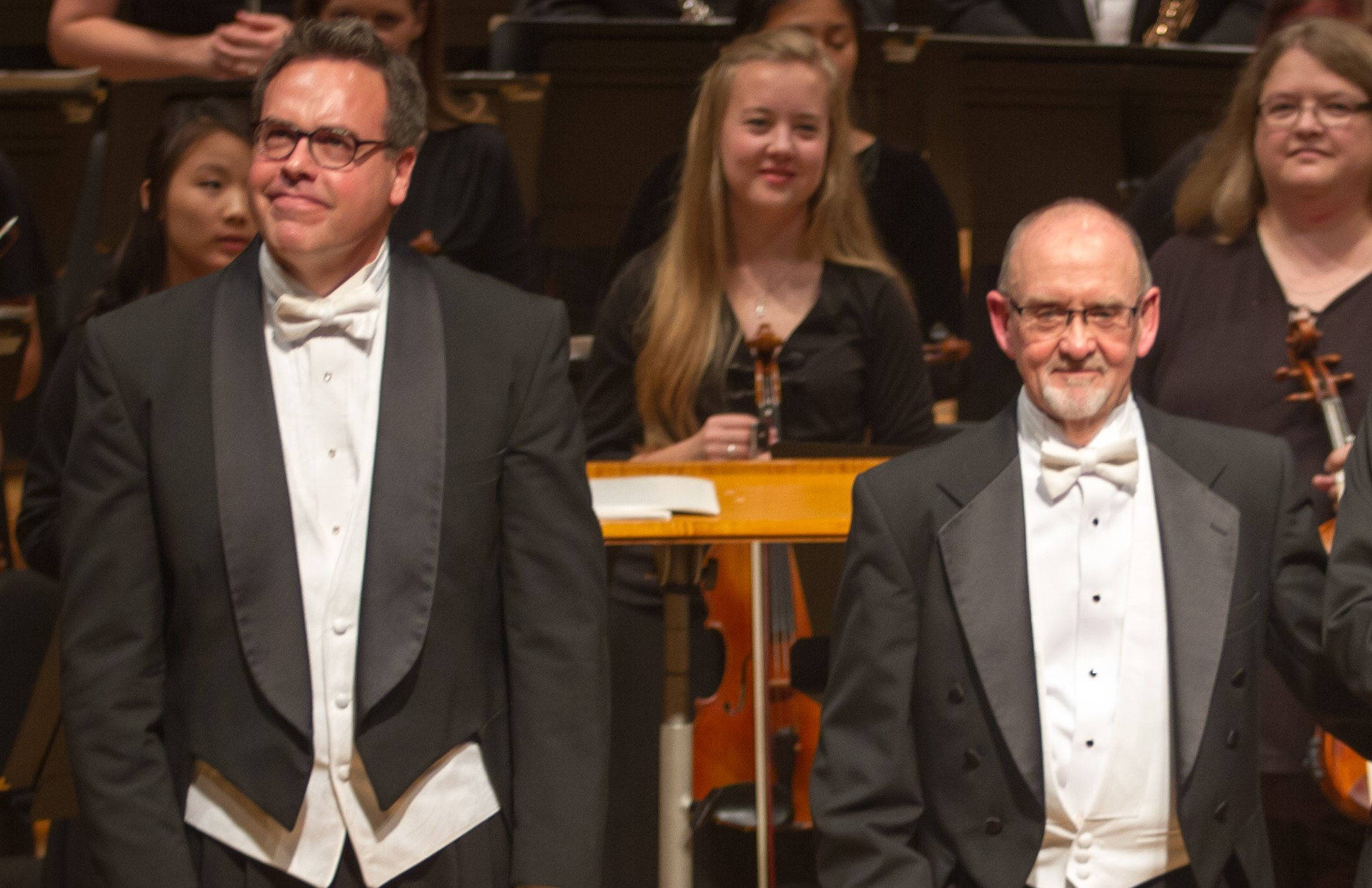 Beginning this season, longtime friends and colleagues, Kirt Mosier (left) and Russ Berlin will share conducting duties for the Lee's Summit Symphony.