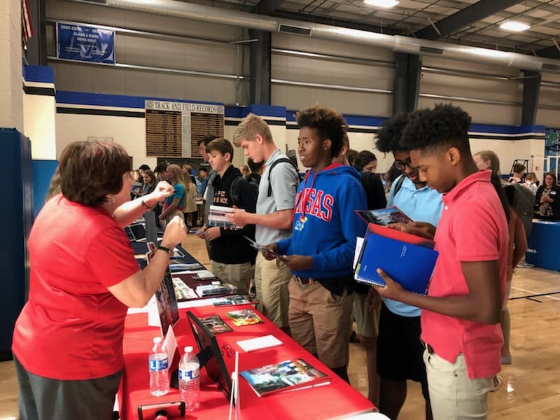 SCA 10th grade students visit with prospective colleges from around the nation as SCA was a participant in the Catholic College Fair.