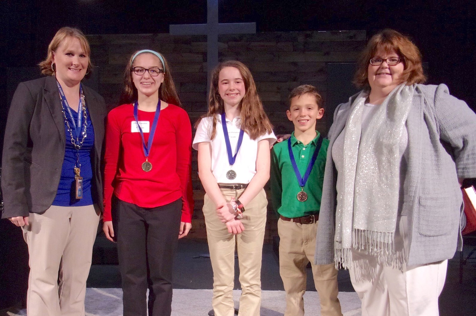 From left to right: SCA Elementary Principal Mrs. Charissa Sanders with Spelling Bee Winner 8th grade student Olivia Truesdale, second place winner sixth grade student Abigail Shanahan, third place winner third grade student Leo Butler, and SCA Academic Dean Mrs. Kimberlee Gill. These students will advance to the Association of Christian Schools International (ACSI) district competition on January 16 at Maranatha Christian Academy in Shawnee, KS.