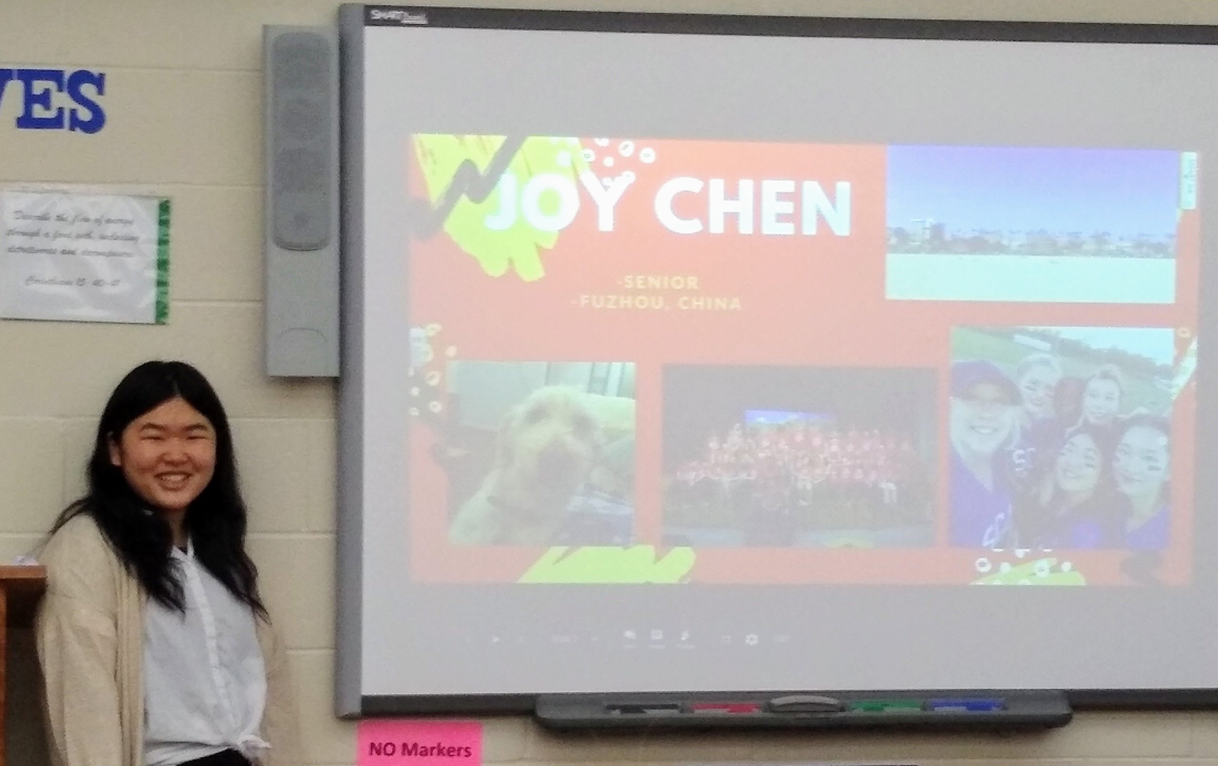 SCA Senior Jiayi (Joy) Chen from Fuzhou, China shares with SCA Secondary students about her home country.