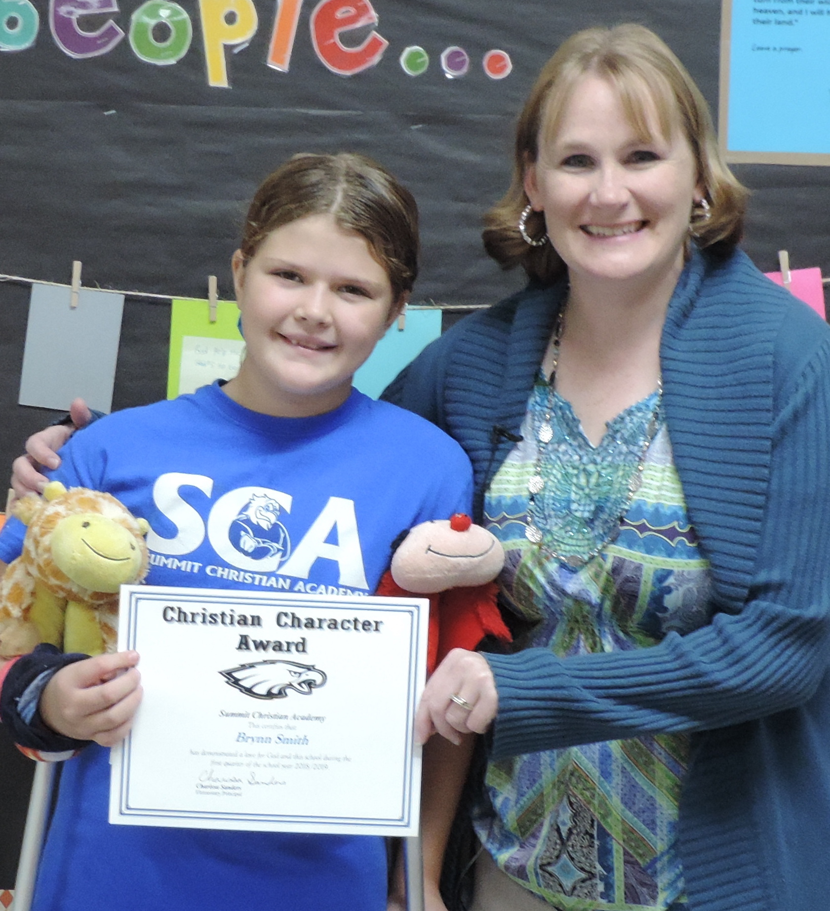 SCA sixth grade student Brynn Smith, pictured with SCA Elementary Principal Charissa Sanders, received an elementary Christian Character Award for first quarter.