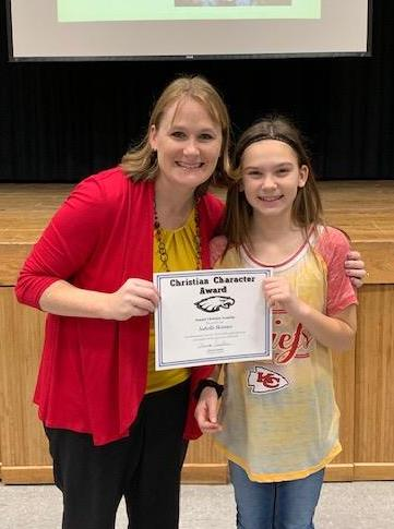SCA third grade student Isabella Skinner, pictured with SCA Elementary Principal Charissa Sanders, received an elementary Christian Character Award for second quarter.