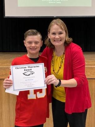 SCA fifth grade student Kai Haulotte, pictured with SCA Elementary Principal Charissa Sanders, received an elementary Christian Character Award for second quarter.