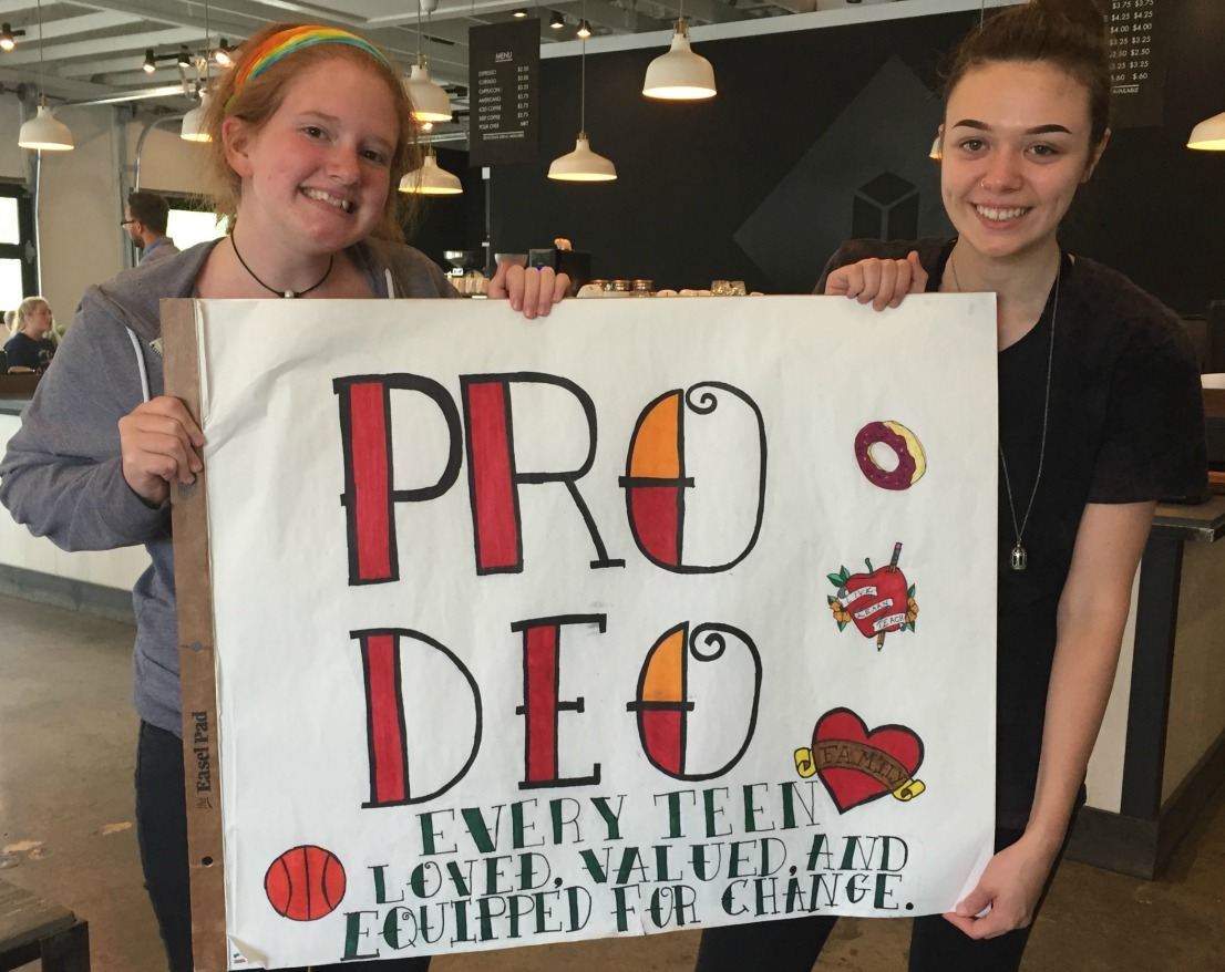 """Youth from Pro Deo share the organization's motto - """"Every teen loved, valued and equipped for change."""""""