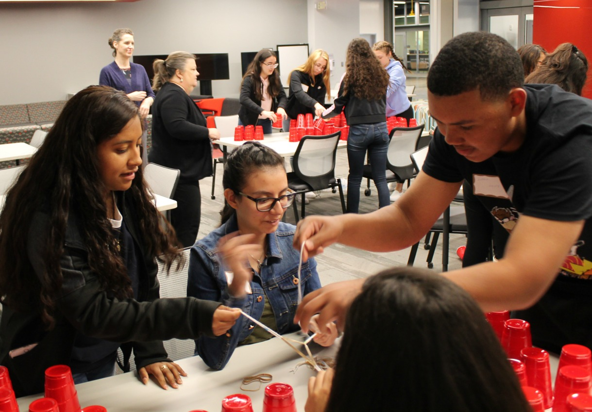Students participate in a team-building activity during a visit to the Missouri Innovation Campus by participants in 20/20 Leadership.  (Photo courtesy UCM-Lee's Summit)