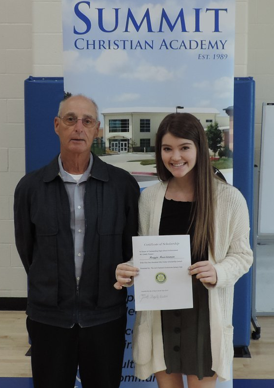 Senior Maggie Munsterman is the recipient of the Lee's Summit Sunrise Rotary Club Scholarship. ( Photo courtesy Summit Christian Academy )