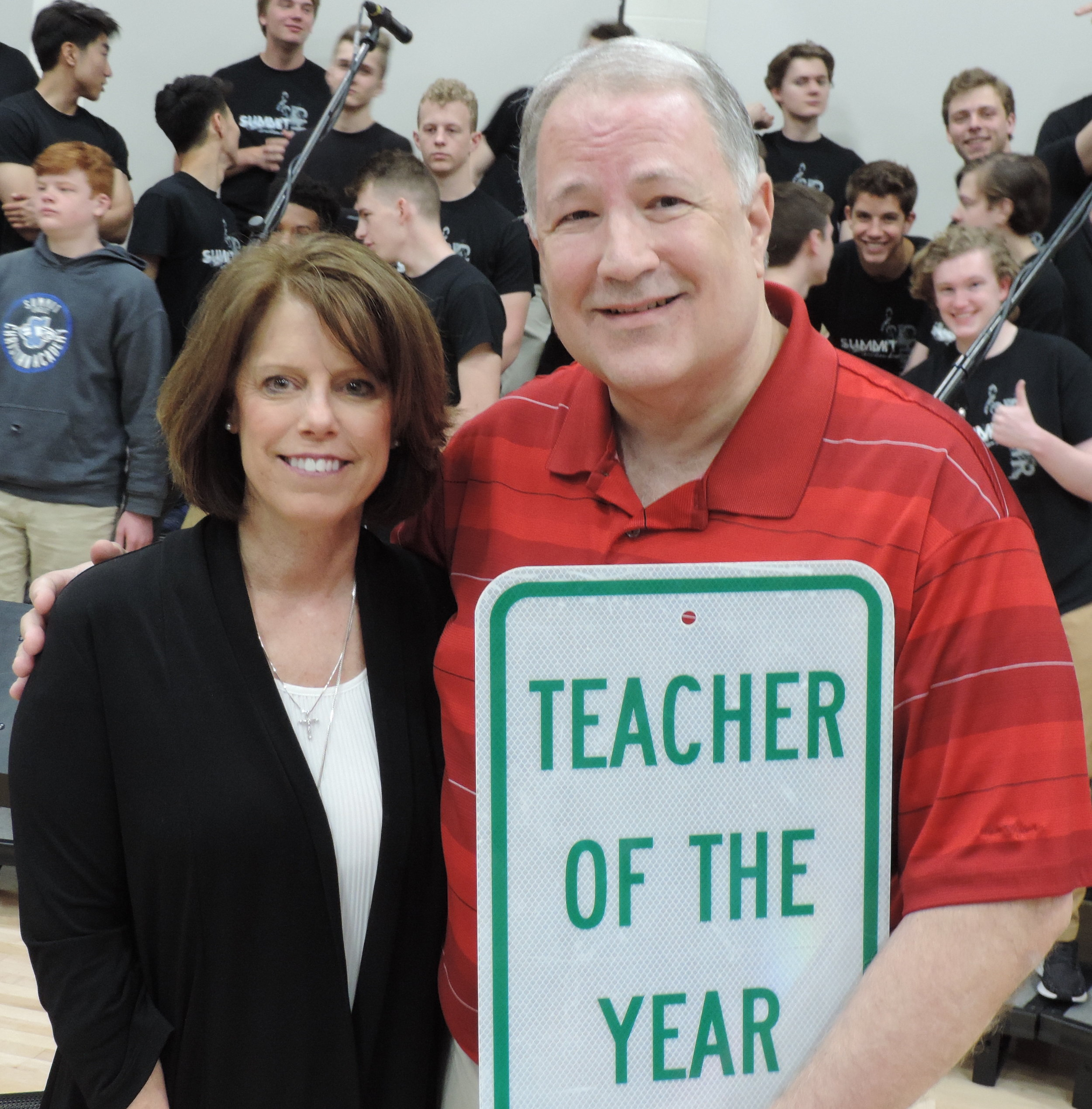 SCA 2019 Teacher of the Year, secondary social studies teacher Mr. Greg Finch, pictured with SCA Head of School Linda Harrelson. (Photo courtesy Summit Christian Academy)