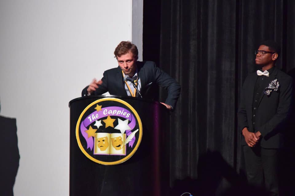 For the second year in a row, SCA Senior John Davis was the winner for Outstanding Lead Actor in a Play for his performance as Dr. Korczak in  Korczak's Children  at the 2018-19 annual Kansas City Cappies Award Gala held at Oak Grove High School.  ( Photo courtesy Summit Christian Academy )