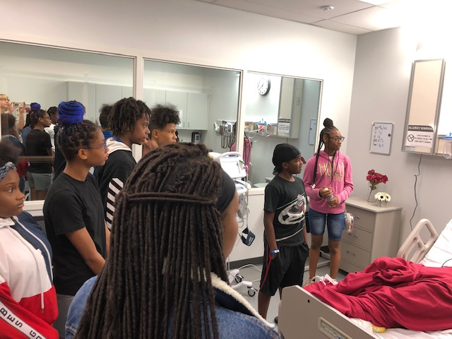 Students tour the nursing simulation lab.  (Photo courtesy UCM-Lee's Summit)