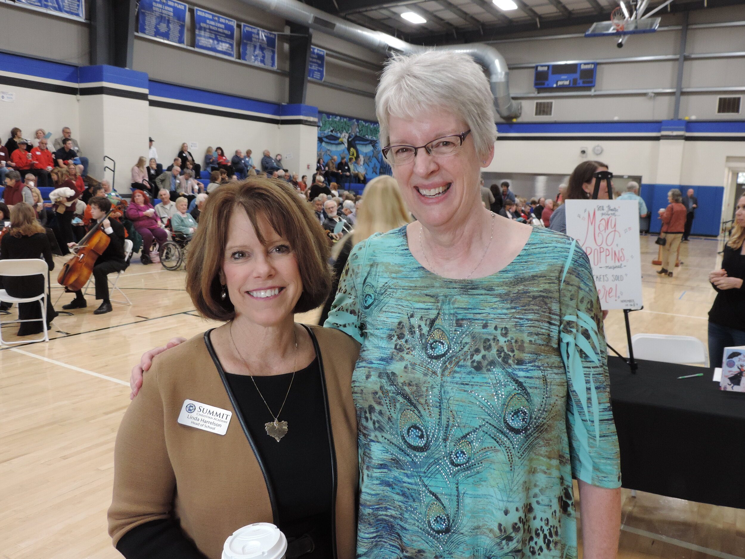 """Summit Christian Academy Co-Founder Lisa Seley was one of the honorary guests at SCA's annual Grandparents Day 2019 and is joined by SCA Head of School Linda Harrelson. """"When I helped found the school in 1989 and we only had 32 students I didn't realize God had such a BIG plan for His school. Wow! Watching SCA grow to 835 students, a full campus and athletic facilities, has been amazing over the last 30 years."""" (Photo courtesy Summit Christian Academy)"""