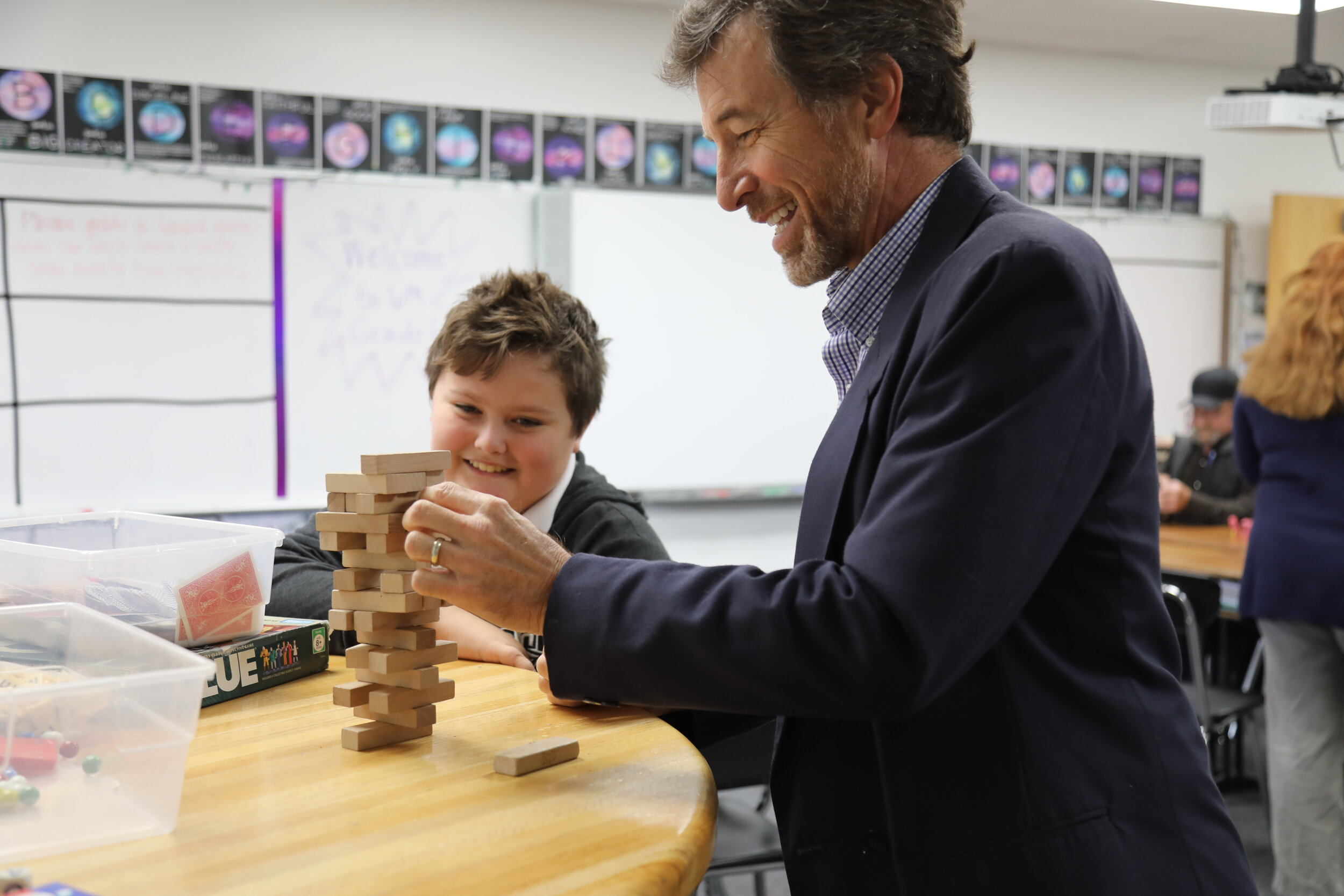 SCA sixth grade student Ronon Cullen enjoys classroom time with his grandfather. (Photo courtesy Summit Christian Academy)