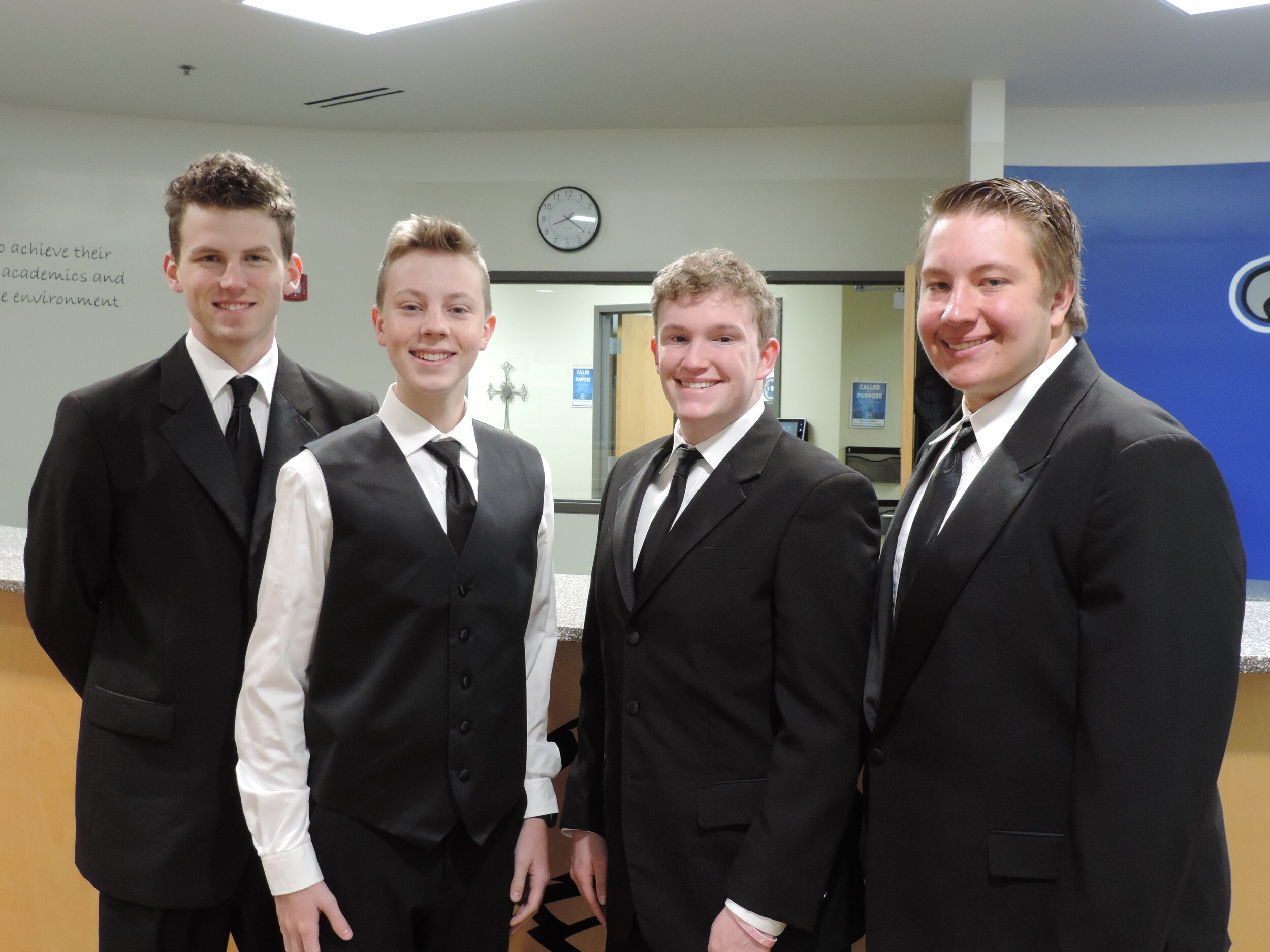 SCA Seniors William Chapman and Patrick Simpson, Junior Ryan Wagy, and Sophomore Hudson Harris were selected for the All-District TTBB Honor Ensemble. (Photo courtesy Summit Christian Academy)