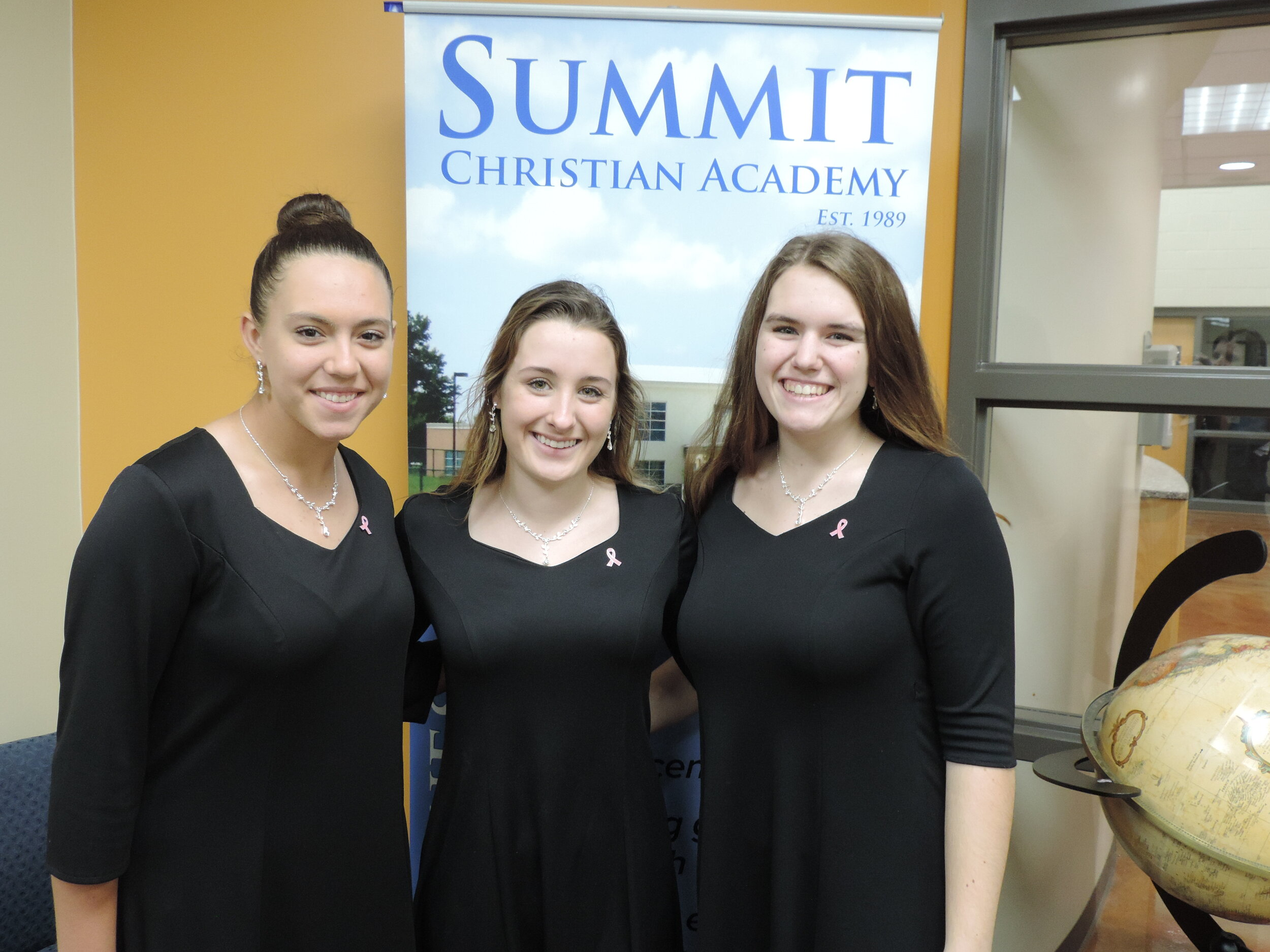 SCA Juniors Alysa Ward, Grace Filer, and Senior Isabella Totero were selected for the All-District SSAA Honor Ensemble. (Photo courtesy Summit Christian Academy)