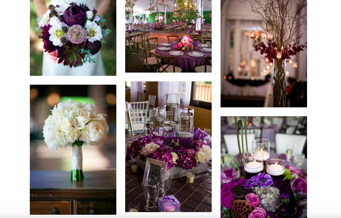 - Megan knew from the get-go that she wanted PURPLE to be a primary wedding color with touches of wooden accents. Peep this little screen shot portion of her custom designed mood-board.