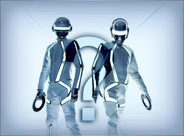 Daft Punk (who did the Soundtrack)in Tron gear