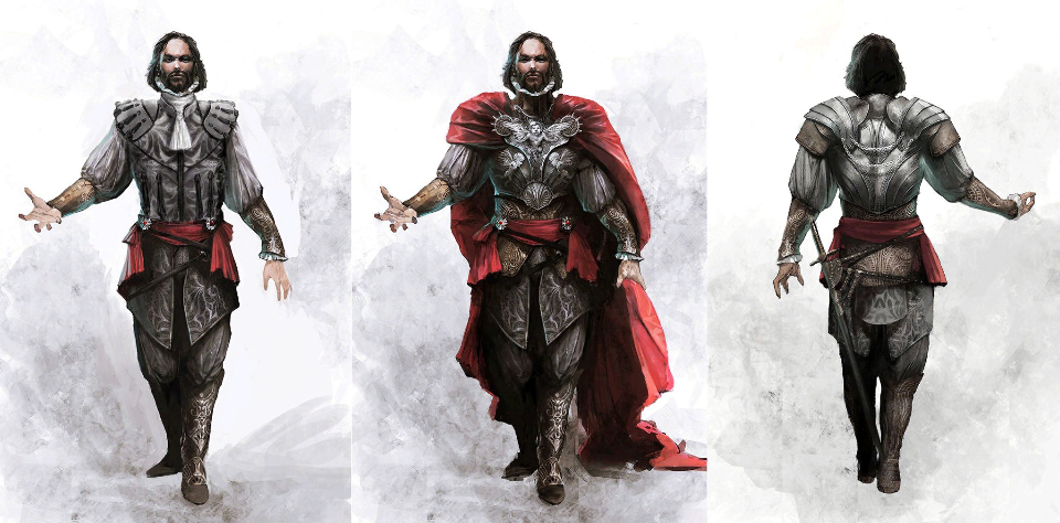 Concept art for the character of Cesare Borgia, made by Vincent Gaigneux. Image © Ubisoft Montreal