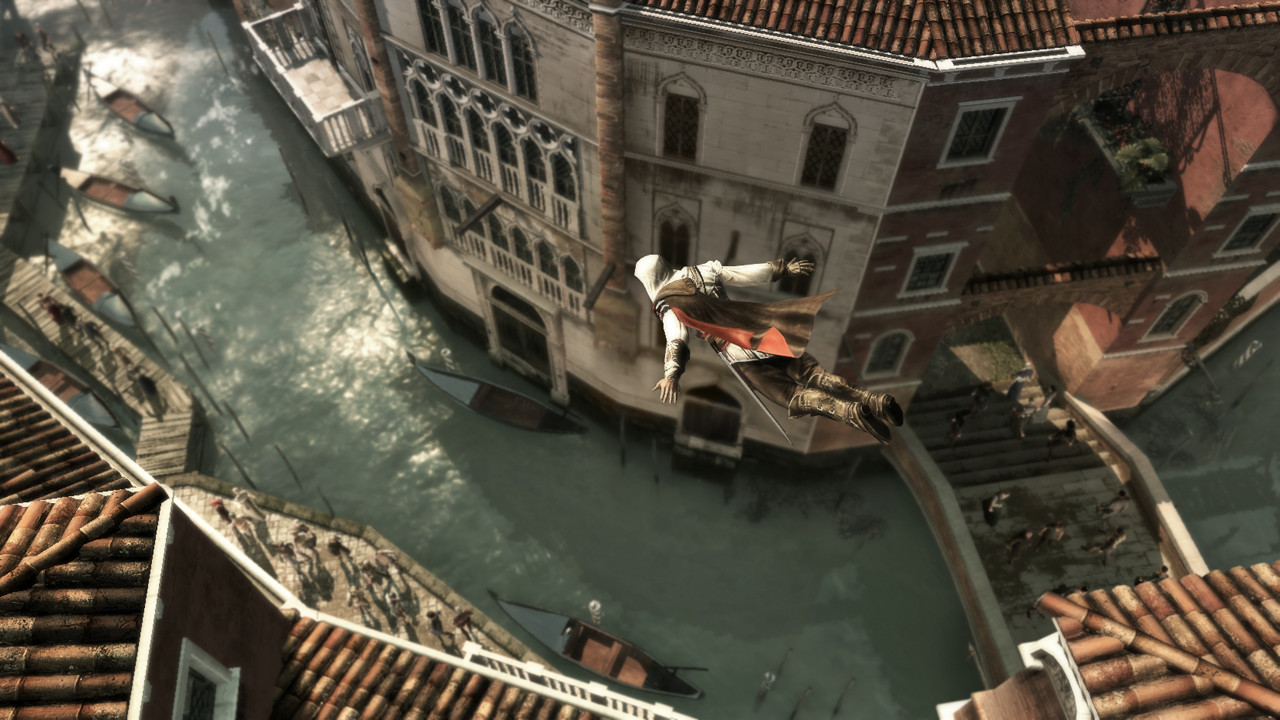 Ezio Auditore da Firenze jumping from four story buildings. Image © Ubisoft Montreal