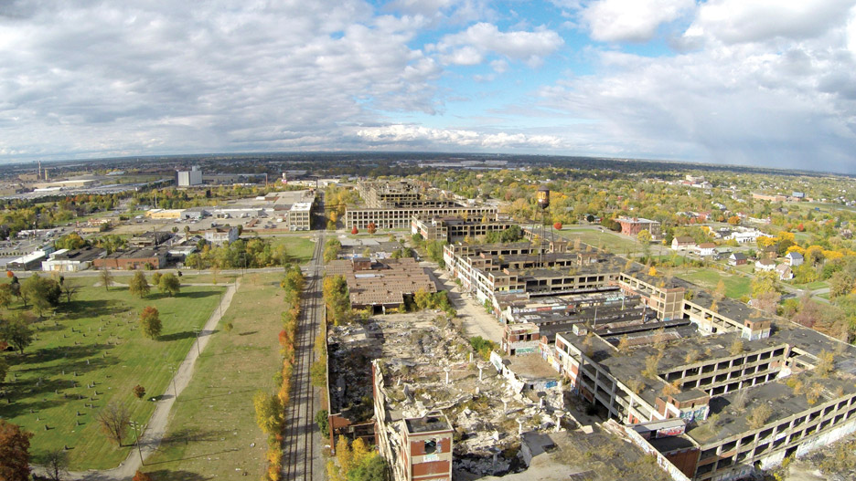 Lynn's proposal reimagined the Packard Plant – a huge abandoned car factory in Detroit