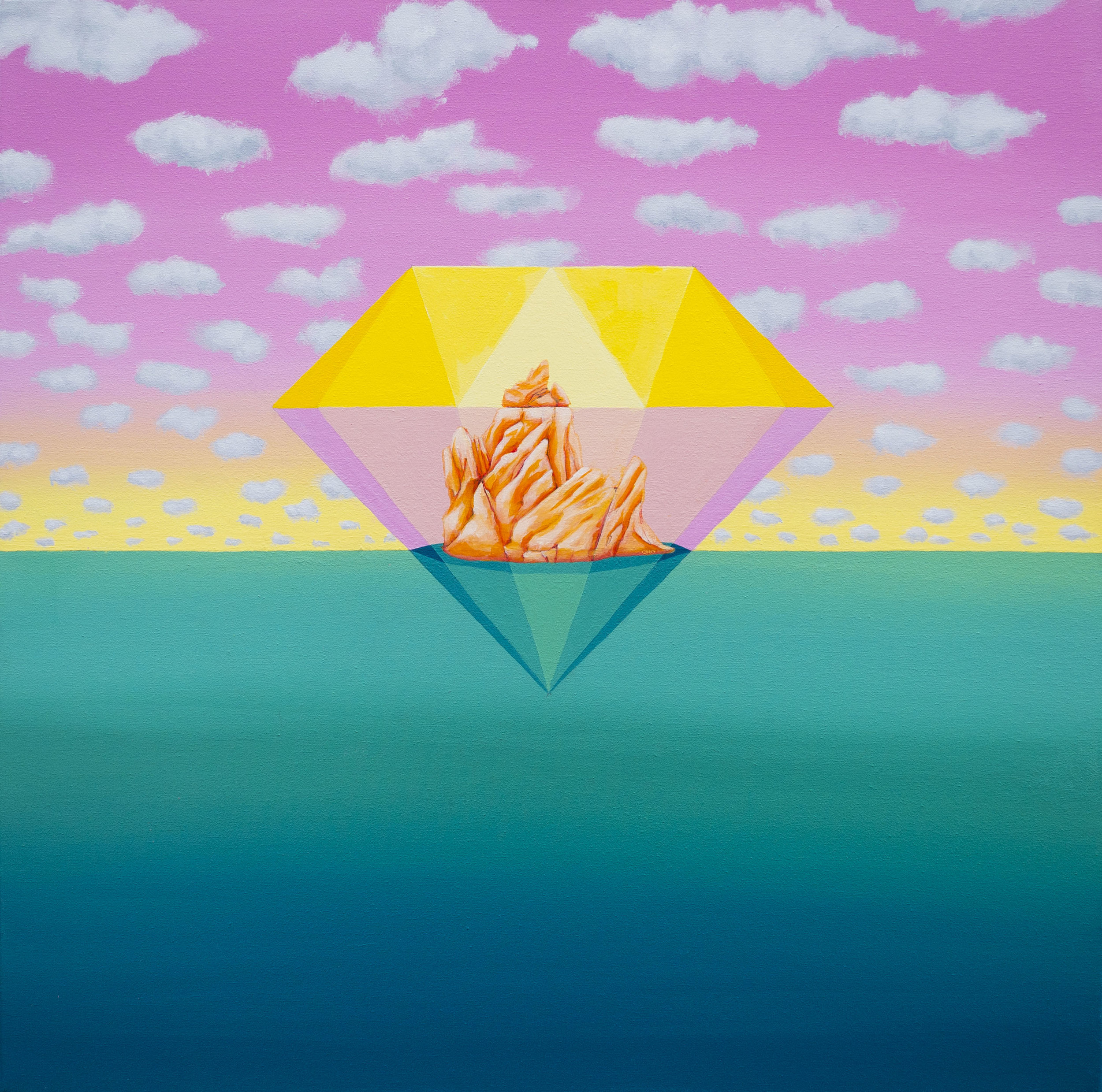"Diamond horizon pink  24""x24""  Acrylic on canvas  Private collection"