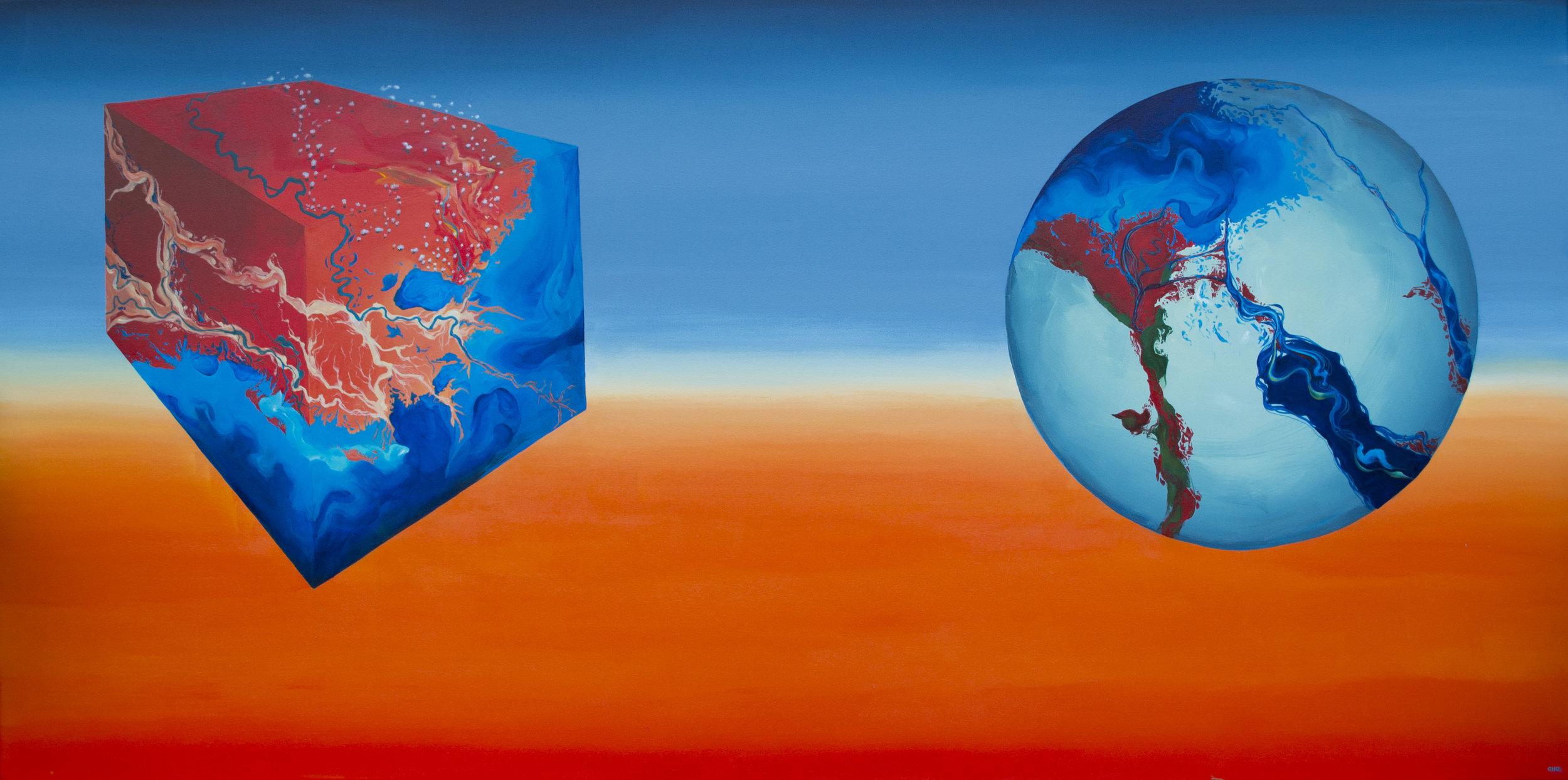 "Mississipi Delta/Nile Delta (2014)  36""x72""  Acrylic on canvas  $1000"