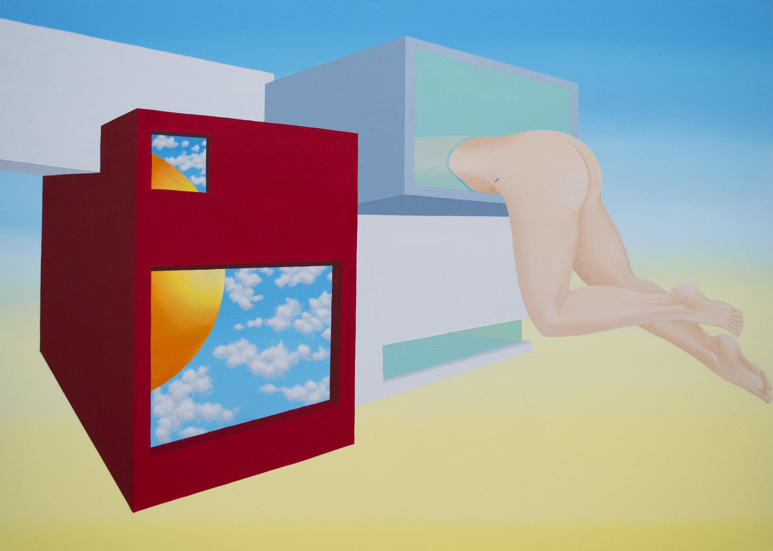 """Inside modern home (2016)  40""""x50""""  Acrylic on canvas  $1000"""