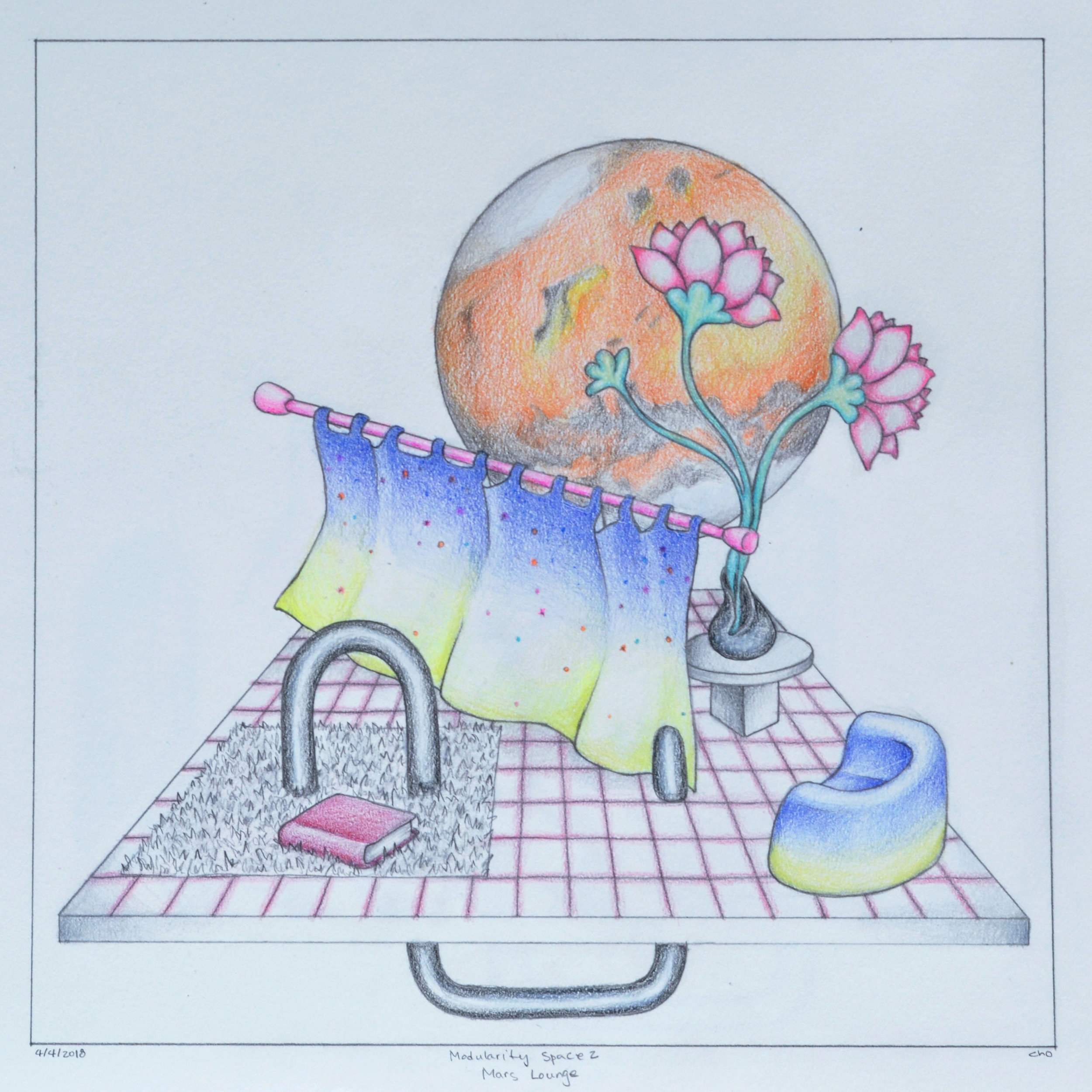 "Modularity space 2: Mars lounge (2018)  12""x12""  Pencil on paper  Private collection"