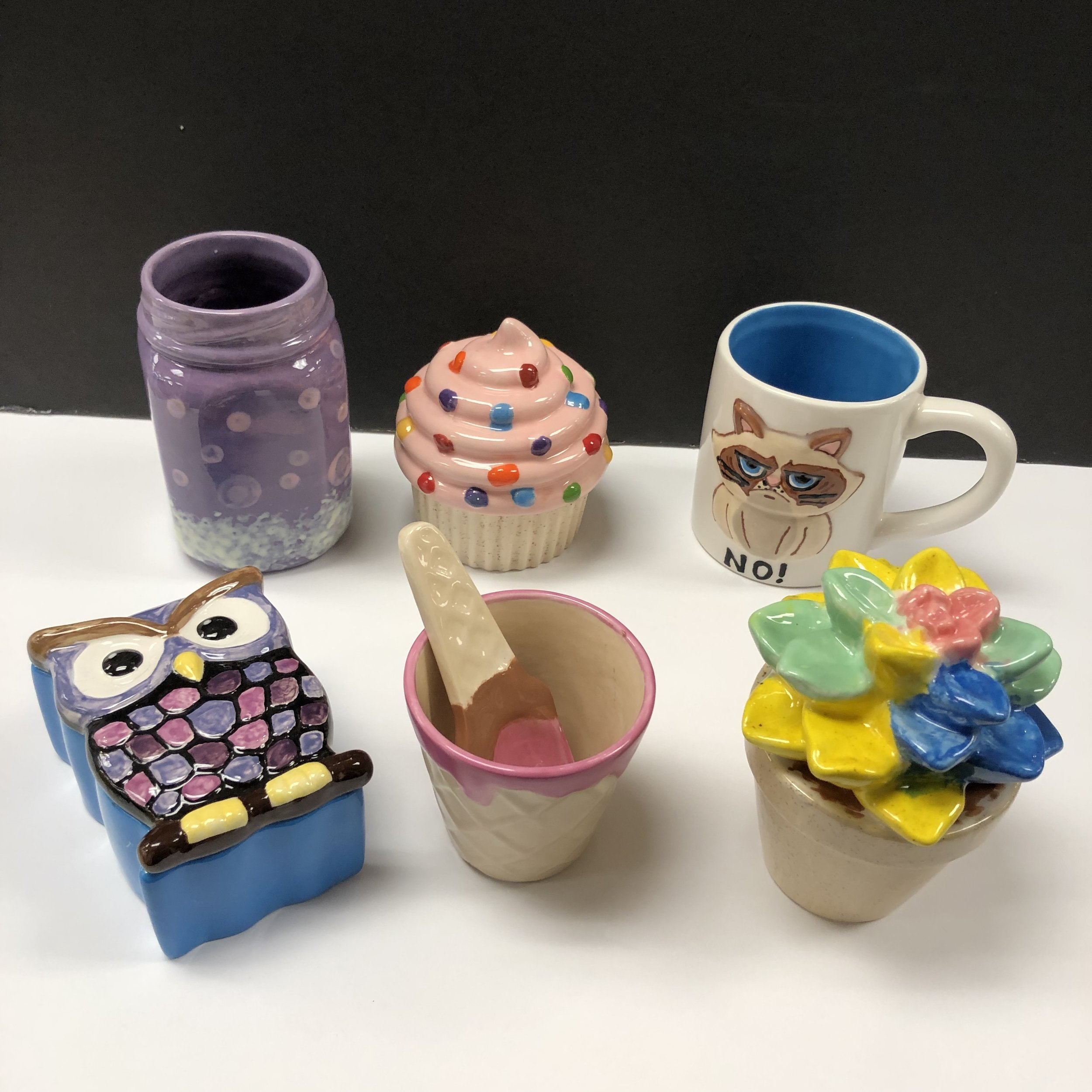 For ages 8 to 105. Pottery Painting Party for 8