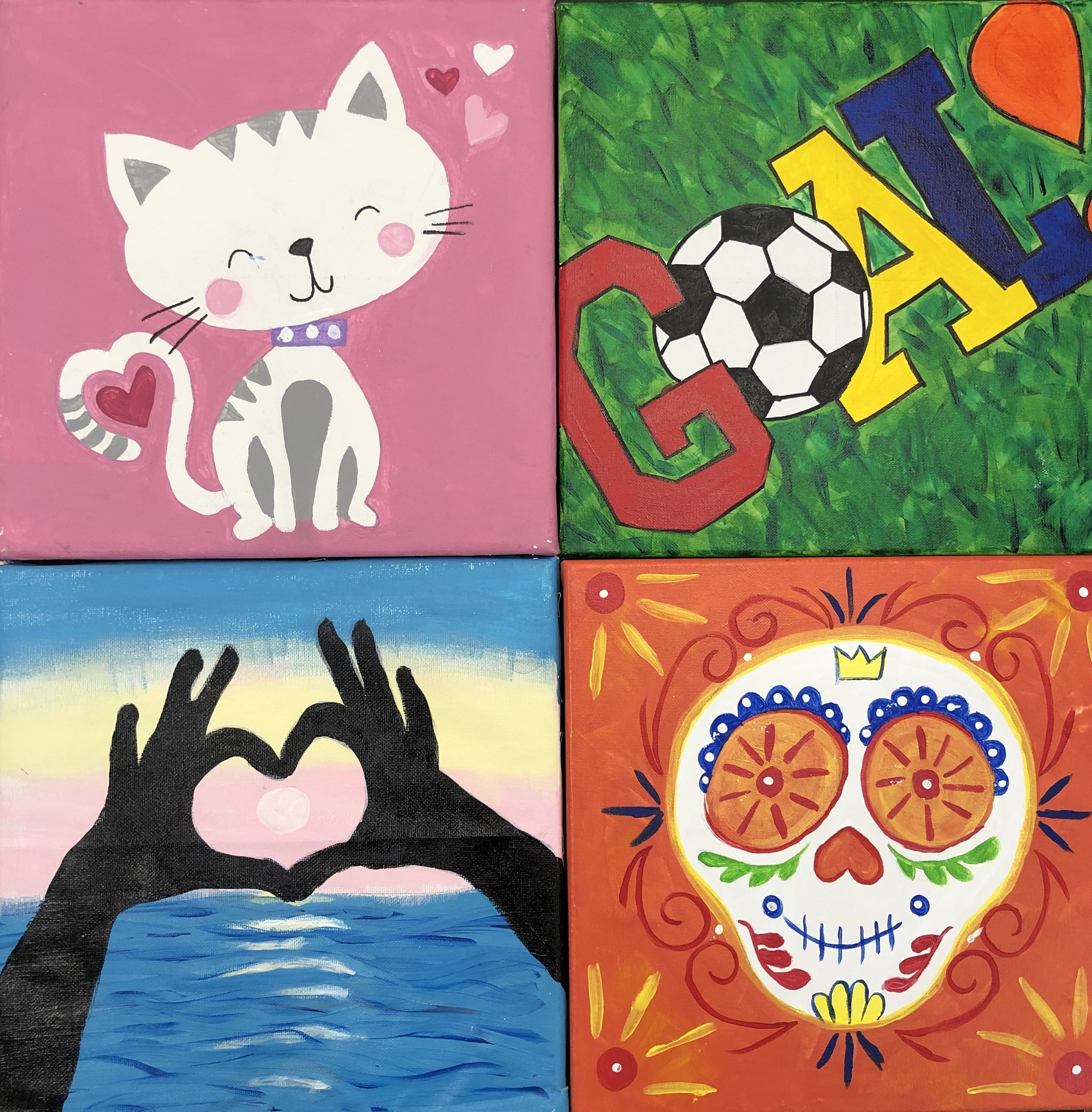 "Canvas Painting Party for 8 - Ages 8 and Up - Price includes party room for two hours, selection of canvas design, all paints, instruction, and a birthday plate for the guest of honor. $200 for kids canvas (12"" x 12"" designs), $240 for adult canvas (16"" x 20"" designs). Additional painters are $20 for kids and $25 for adults."